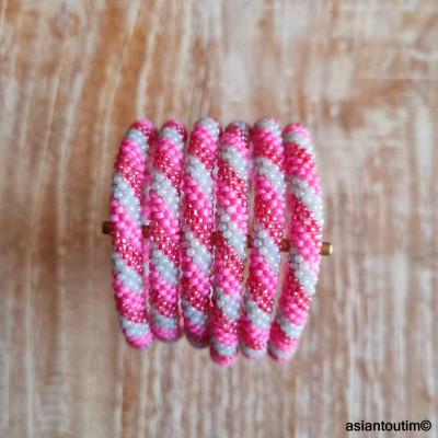 Pochette jute noir Fleurs bleues