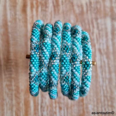 Bracelet laiton plat martelé 3 en 1
