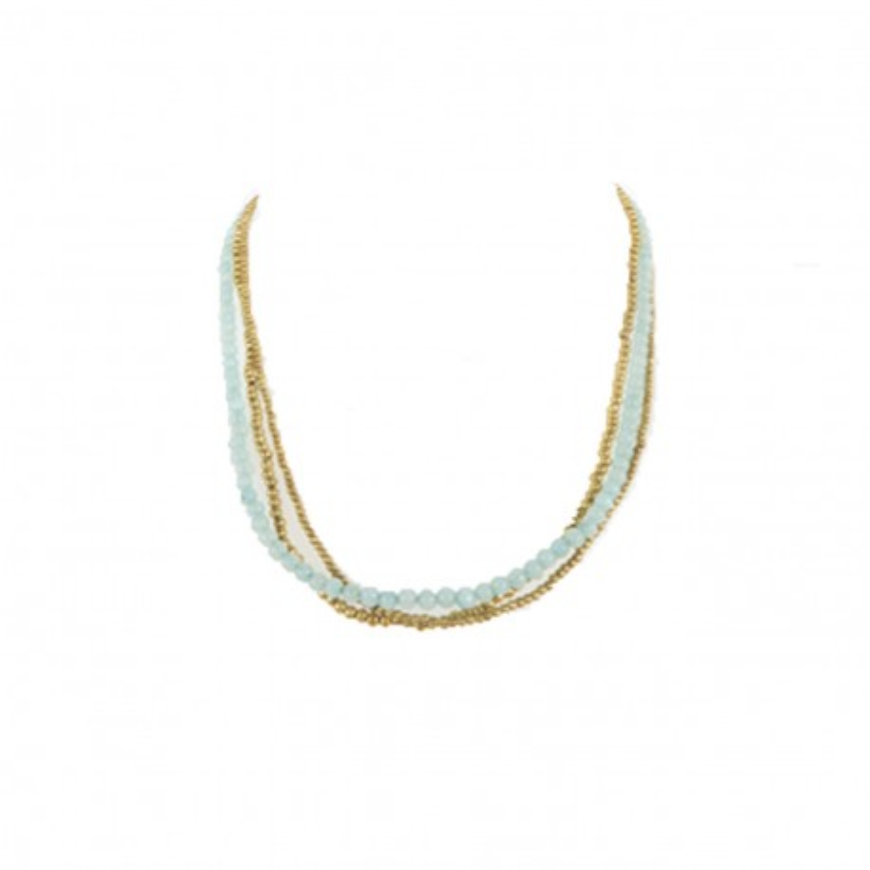 Collier perles de calcedoine bleue