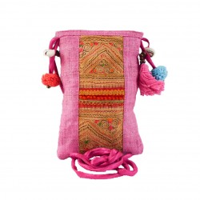 Pochette rose bohème chic pour téléphone